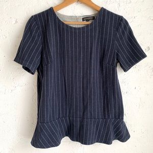 Banana Republic navy blue pinstripe peplum blouse
